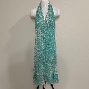 NWOT Bagley Mischka Silk Halter Dress Size 8